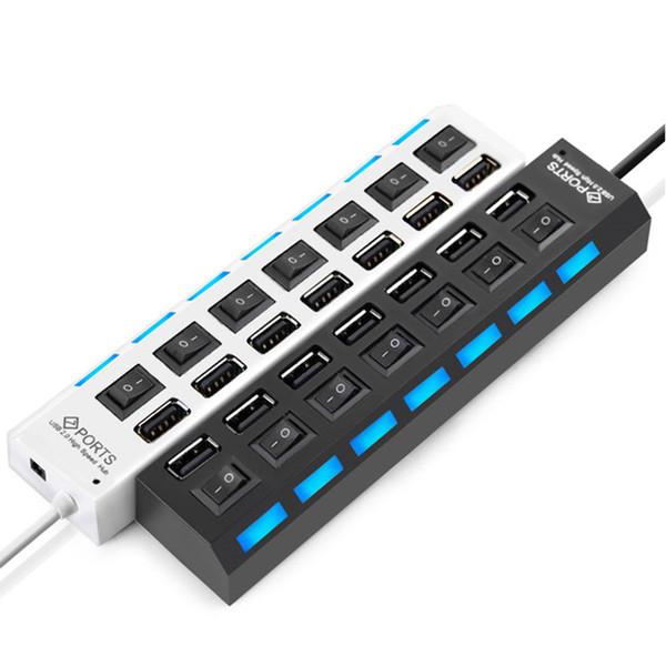Alta calidad 7 puertos USB Hubs Adaptador USB de alta velocidad Hub con interruptor de encendido / apagado para PC portátil con computadora 60038 DHL