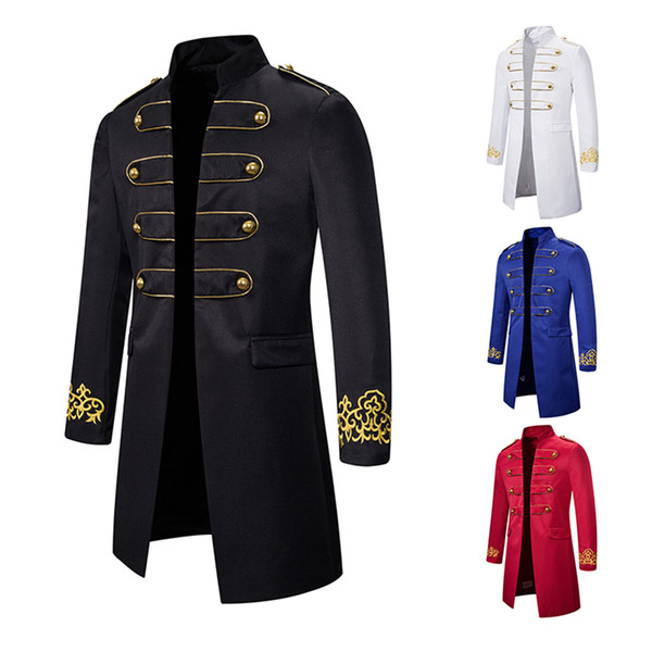 men's costume embroidery vintage trench coat men casual steampunk tailcoat jacket uniform long coat men stage costume homme - from $27.24