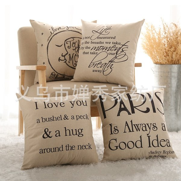 Serie de letras Funda de almohada Funda de cojín de lino Vida i Love You Paris Fashion Popular europeo clásico con alta calidad 5cx J1