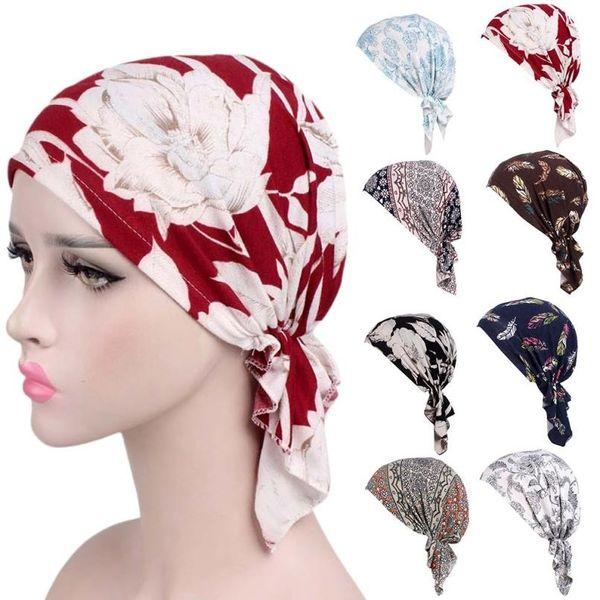2018 Women Floral Print Beanie Turban Hat India Muslim Elastic Cotton Beanie Hat Turban Headwear for Cancer Patients Head Scarf