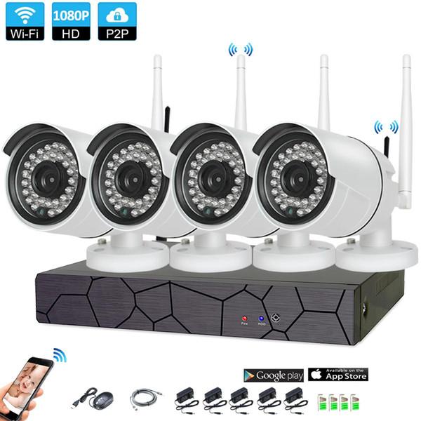 4CH CCTV sistema inalámbrico 1080P NVR 4PCS 2.0MP IR exterior P2P Wifi IP CCTV Sistema de vigilancia de sistema de cámara de seguridad