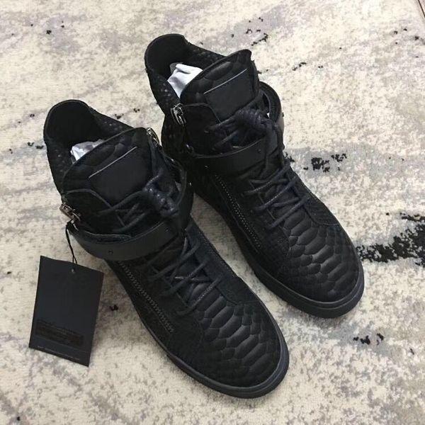 Nouvelle marque italienne designer hommes baskets femmes chaussures de sport en cuir véritable Lace-Up the high tops marron double fermeture à glissière décorative chao008