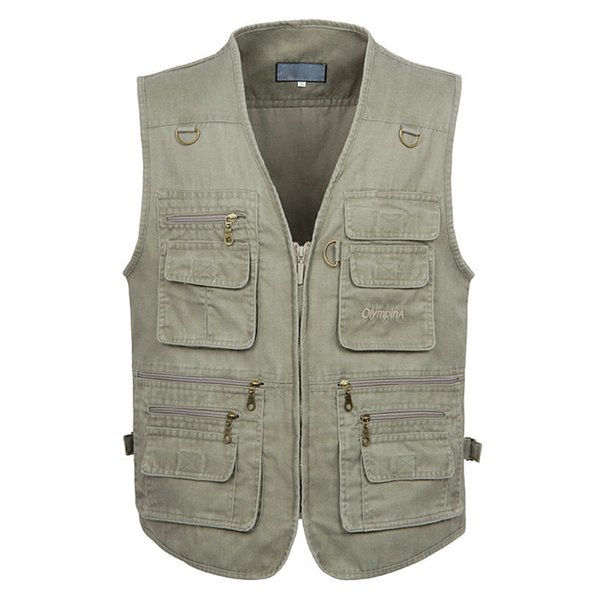 5xl 6xl 7xl New Male Casual Summer Big Size Cotton Sleeveless Vest With Many 16 Pockets Men Multi Pocket Photograph Waistcoat C190420