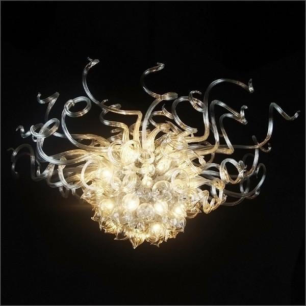 Hanging Led Tiffany Style Hand Blown Glass Chandeliers Lightings Flower Designed Murano Glass Pendant Lights For Living Room Decor Multi Light Pendant