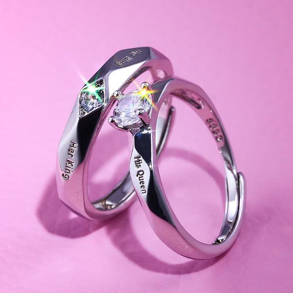 Açılış ayarlanabilir Severler yüzükler Kralı Onun ile kazınmış kraliçe yüzük kristal moda yüzük