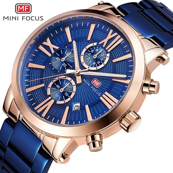 MINIFOCUS Top Brand Luxury Men Watch Acero inoxidable Moda Hombre Ocio Reloj de cuarzo Reloj impermeable Relogios masculino