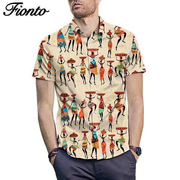 Summer Indian Printed Short-sleeved Shirt Men's Street Loose Top Summer Casual Loose Type Men's Shirts ZF9683