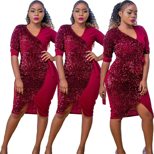 2019 nuevas mujeres del verano lentejuelas vestidos remiendo con cuello en v mitad de la mitad del vestido midi partido bodycon rodilla longitud oficina dama vestidos