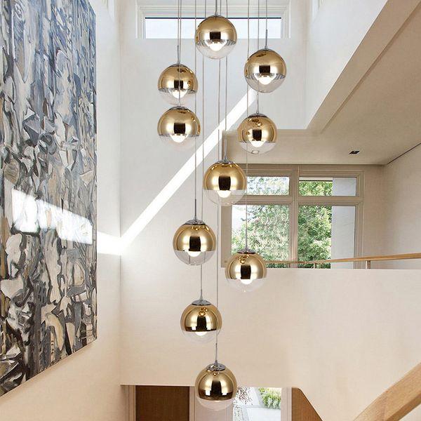 Principali moderne Pendant Light Nordic creativa scale Lampada Living Room sfera d'attaccatura di vetro cavo della lampada doppia scalinata lungo Lampada a sospensione