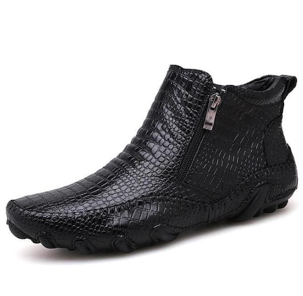 Top Designer Printemps Crocodile Luxe Bottes Neige Hiver Chaussure Hommes Acheter Cuir De Chaussures Bottes Marque Rétro Véritable En Étanche Style Yf6yv7gb