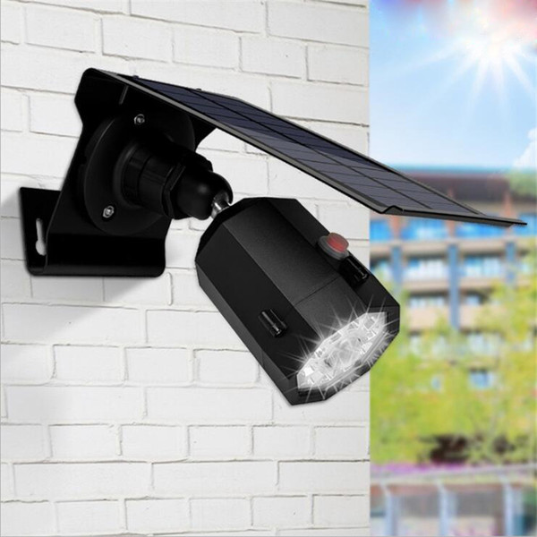 Outdoors Solar Lights IP65 Waterproof Outdoor Indoor Security Surveillance Anti-theft Fake Camera LED Wall Light 10LEDs
