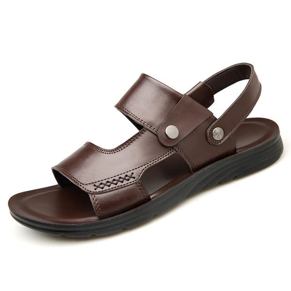 2018 Erkek Sandalet Yüksek Kalite Moda Hakiki Deri Sandalet Terlik Siyah Kahverengi Plaj Ayakkabı Rahat Açık Ayakkabı Boyutu 38-44