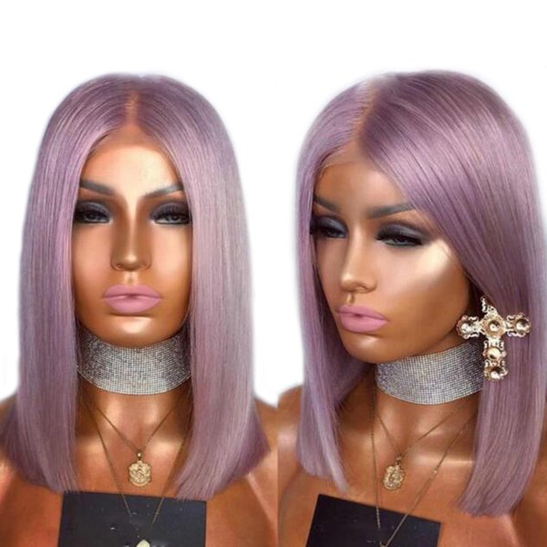 Glueless Full Lace Human Hair Wigs For Black Women Bob Wig Grey/Blue/Pink/Purple Straight Lace Front Wig Remy 130%