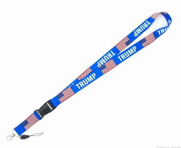 best selling 100PCS Trump Funny Keychain Cartoon Phone Lanyard US Flag Women Fashion Strap Neck Lanyards for ID Card Phone Keys