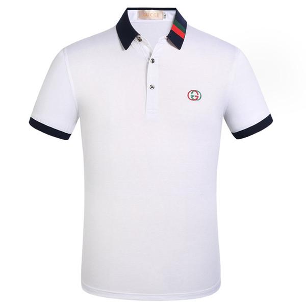 Moda erkekler için İtalyan mens Shirt Yaka resmi Tişörtlü giyim t shirt designerss gündelik adam Komik Tee gömlek G2Gucci giysiler Tops