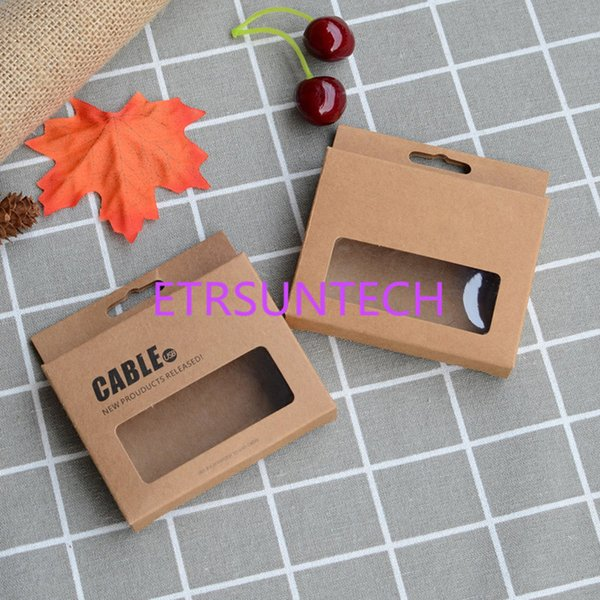 500pcs/lot 9.5x7.5x1.5cm Date Cable Packaging Cardboard Boxes Kraft Paper Data Line Packing Window Box With Hang Hole