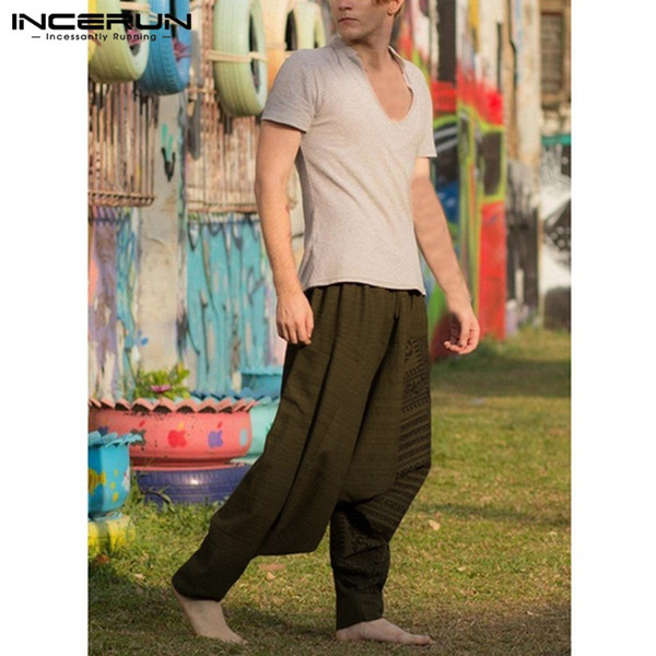 d6f3e6465 INCERUN Big 5XL Hiphop Men Baggy Pants Harem Pants Wide Legs Drop Crotch  Loose Fitness Joggers Dance Trousers Masculina Pantalon