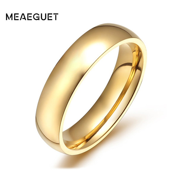 engagement rings for women Meaeguet 4mm Wide Gold-color Stainless Steel Wedding Band Engagement Rings For Women Men Jewelry USA Size 5-12