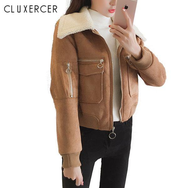 winter jacket women lapel suede leather buckle cool pilot jacket faux lamb wool motorcycle jackets coat women chaqueta mujer - from $43.46