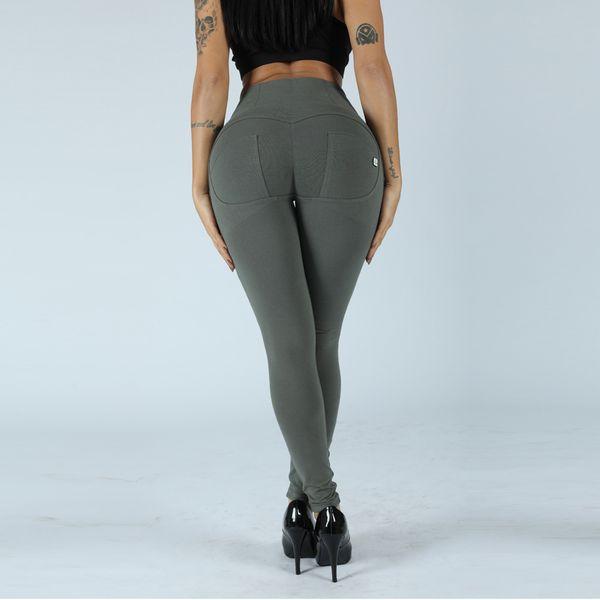 Melody knitted high waist olive green yoga pants womens buscrunch v shape waistband legging spandex push up pants