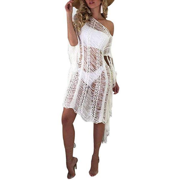 Kadın Yaz bluzlar Kadınlar Plaj Topraklar Renk Dantel Mayo Hırka Mayo Bikini Uzun Kapak Ups Tops