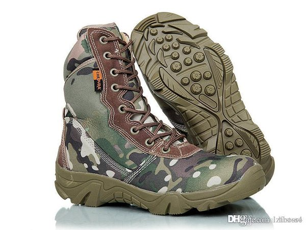 Nueva venta Camuflaje Militar botas especiales soldados botas tácticas campo batalla alto desierto otoño invierno producto montaña zapato LZFOUT4