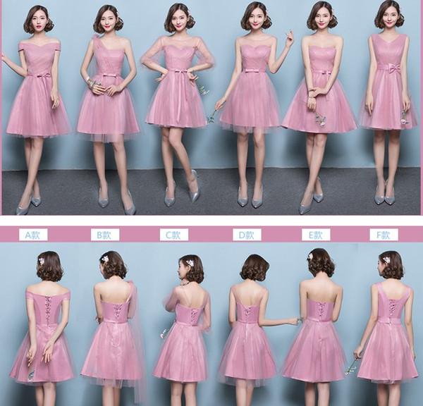 Ladies Short Bridesmaid Dresses Ball Gown 6 Difference Style Knee Length Slim XS-XXXL Women Mini Bridesmaid Dresses
