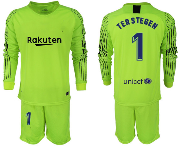 5344906bd95 2018 2019 Men Set Long  1 Ter Stegen Goalkeeper Jerseys  13 Cillessen  Soccer Sets Marc-Andre Ter Stegen Football Kit Goalie Uniforms Adults