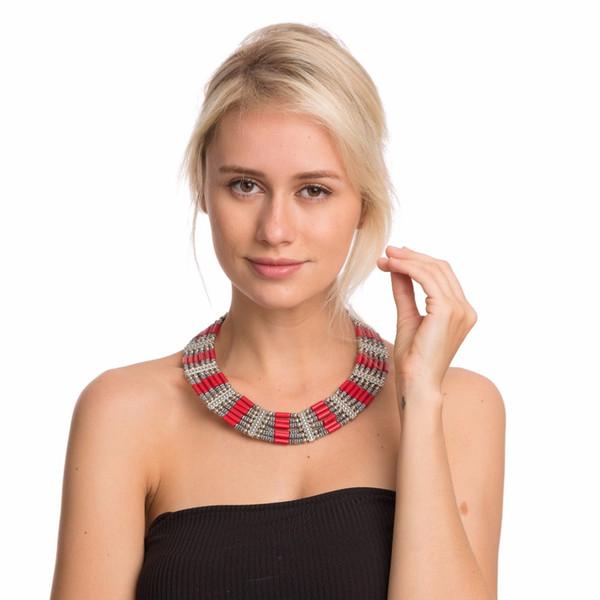 vente en gros nouvelle mode collier coloré tturquoise vintage corail multicolore pendentif tour de cou déclaration pendentif Bohême femmes bijoux