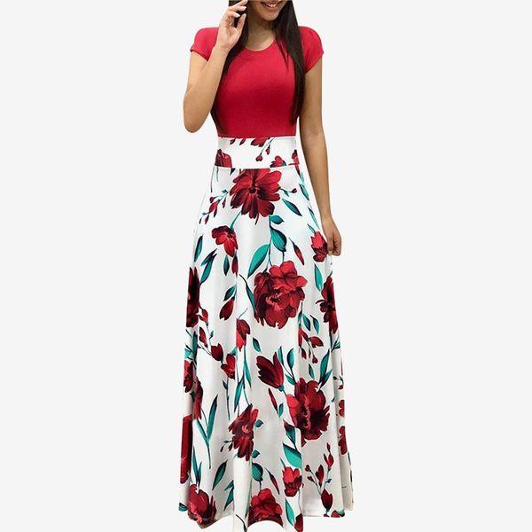 Kadın Giyim Renkli Çiçek Çiçek Baskı Uzun Kısa Elbise 2019 Yaz Kadın Zarif Maxi Parti Elbiseler Kadın Vestidos Y190515