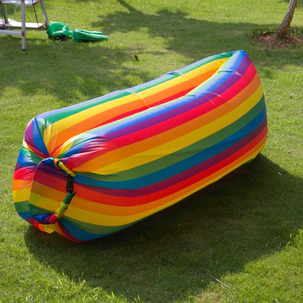 Salotto sacco a pelo arcobaleno divano pigro gonfiabile divano pigro autogonfiato all'aperto sacchi a pelo divano letto divano da DHL