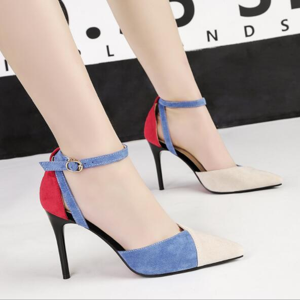 Sexy Ladies 9.5cm Pumps Suede Pointed Toe Party Sandals Brand Fashion Designer Women Stiletto High Heels Formal Prom Wedding Dress Shoes New
