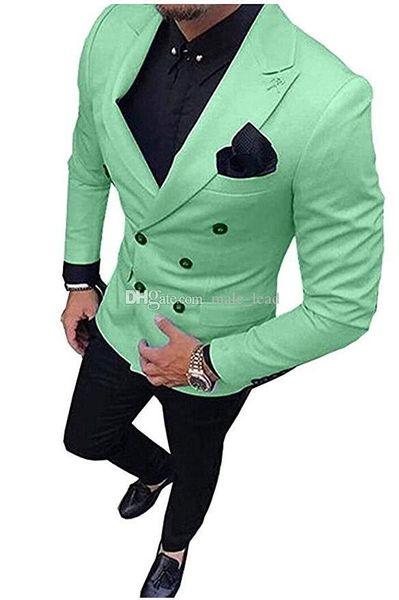Kruvaze smokin damat düğün erkekler suit erkek düğün takım elbise smokin kostümleri de sigara hommes dökün erkekler (Ceket + Pantolon + Kravat) 023