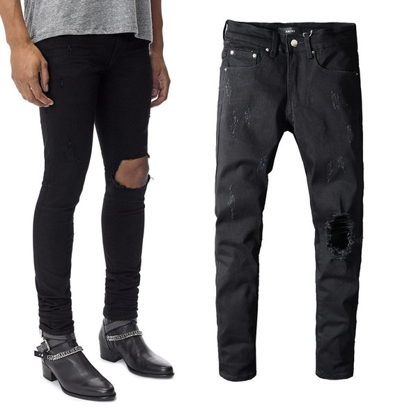 New Italy Style Distressed Distressed Hollow Out Jeans skinny neri Pantaloni hip-hop alla moda Pantaloni lunghi slim Taglia 28-40 # 586