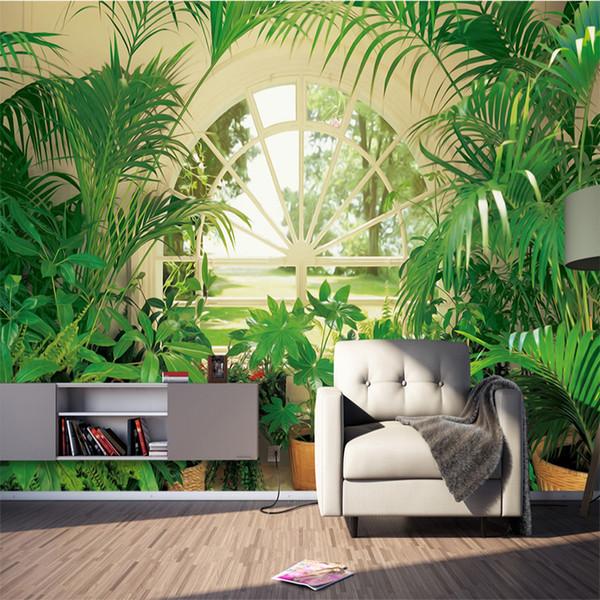 Personalice cualquier tamaño 3D Papel tapiz Sala de estar Sofá Superficie de la pared Moderna Nordic Planta verde Ventana Pastoral Fondo Mural