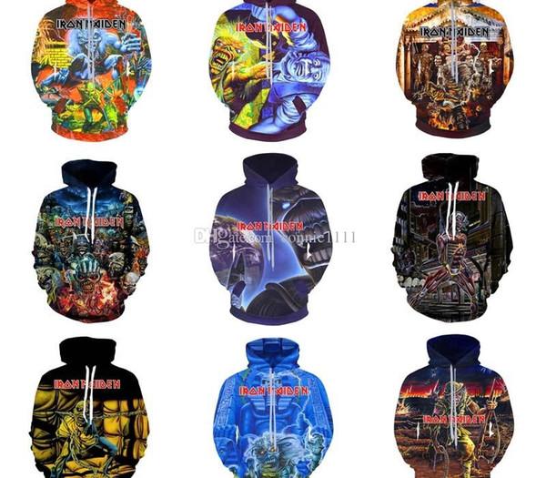 Iron Maiden à capuche Sweat-shirt Homme Femme Couple unisexe Hoodies réel Morte Un 3D Imprimer Veste à capuche pull overs 10 Styles