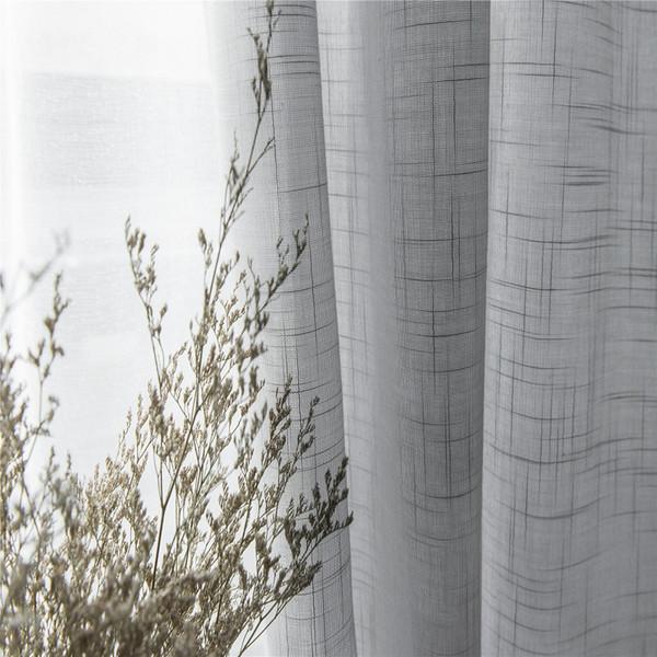 현대 회색면 리넨 얇은 명주 그물 커튼 부엌 문 깎아 지른 창 처리 흰색 고체 얇은 명주 그물 거실