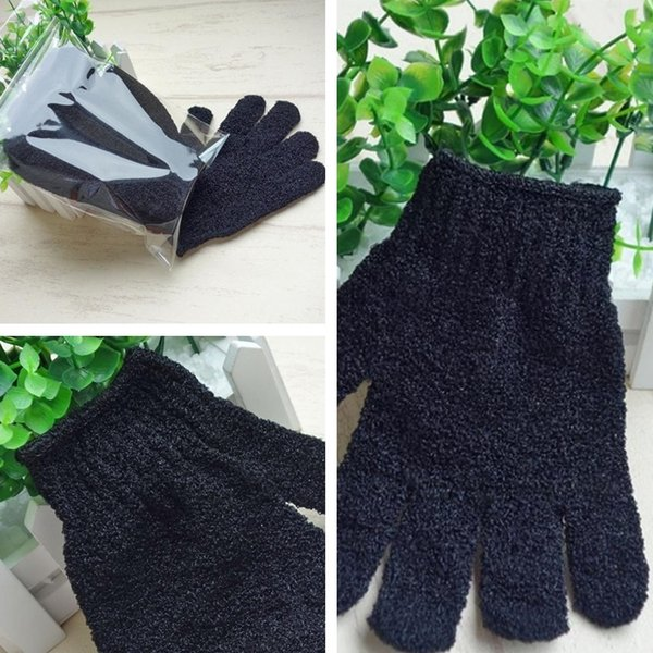best selling New Black Nylon Body Cleaning Shower Gloves Exfoliating Bath Glove Five Fingers Bath Bathroom Gloves Home Supplies T2I337-2