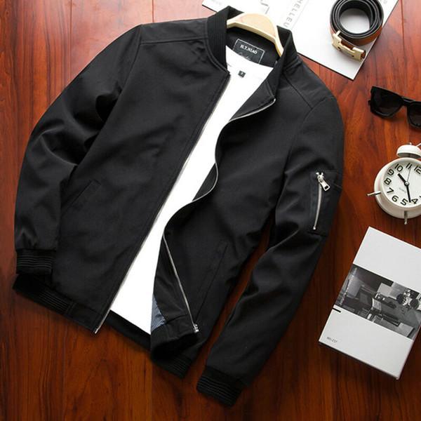 Hommes Motif Massifs Type Vestes Casual style classique en vrac Style de Manchette Fermeture à glissière Longueur Vêtements régulier