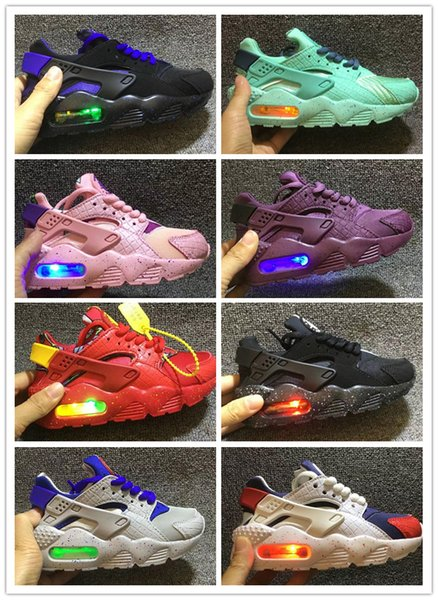 2019 Kids Air Huarache Flash Lighted Run Shoes Children running shoes Infant huaraches outdoor toddler athletic boy & girls sneaker