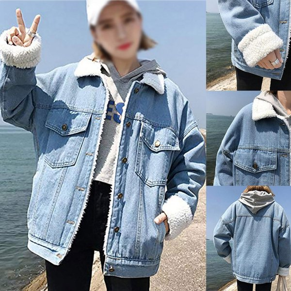Women Oversize Long Sleeve Fleece Thick Warm Pocket Jacket Coat Winter Clothing