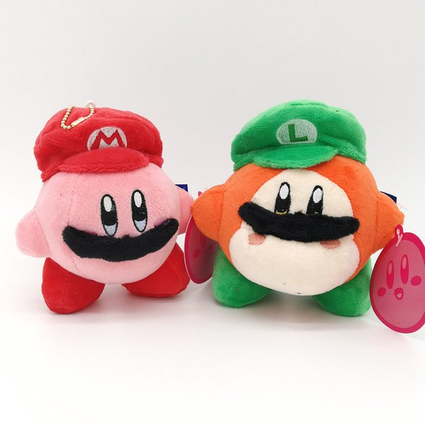 """Top New 2 Styles 5"""" 13CM Kirby Waddle Dee With Mario Luigi Hat Plush Doll Anime Collectible Dolls Keychains Pendants Stuffed Gifts Soft Toys"""