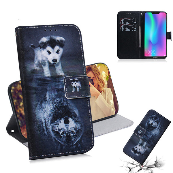Wallet Case For Huawei Honor 8C Cover Hot selling Coloured pattern Wolf tiger lion Owl Dog With Card Slot Design