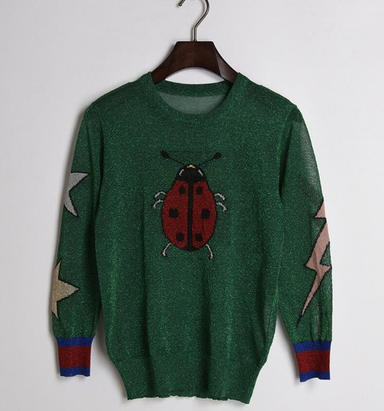 Spring Summer Butterfly Ladybug Star Gold and Silver Lurex Hollow Out Knitting Cute Green Sweaters