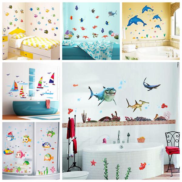 Zs стикер водонепроницаемый стикер стены водостойкий стикер стены клей дети Home Decor Mural ванная комната рыба детская комната D19011702