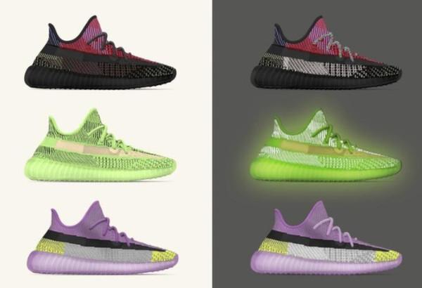 2019 Ye v2 ayakkabı yecheil Kutu, Makbuz, çorap ile yeezreel yeshaya yeni colorway bulut beyaz statik yansıtıcı boyutu eur 36-48 v2 Koşu ayakkabıları