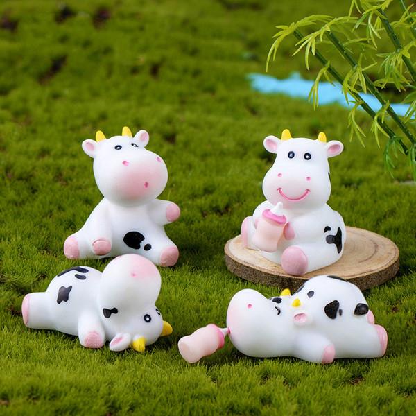 Симпатичные молочная корова миниатюрная фигурка бутылка молока ремесло украшения мох террариум микро пейзаж бонсай кактусы аксессуары Фея сад DIY