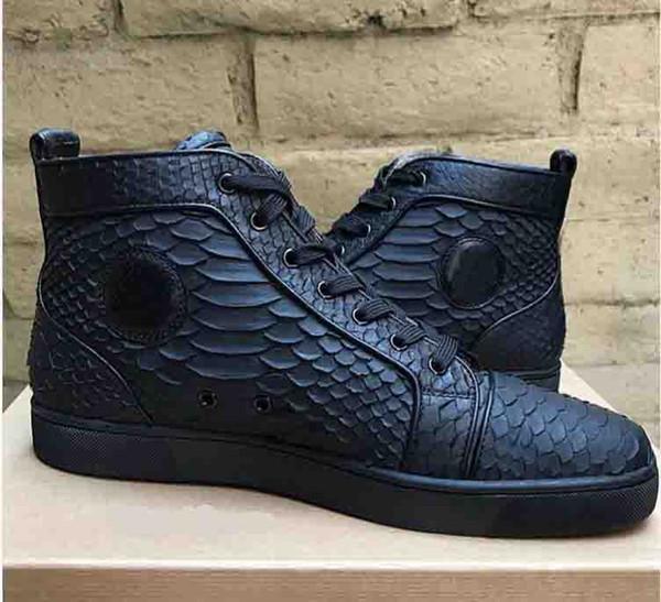 Marka Moda erkek Lüks Kırmızı Alt Rahat Ayakkabılar Balık Pulu Hakiki Deri Moda Yüksek Üst Dantel Up Toe Düzensiz Spike Sneakers Traine