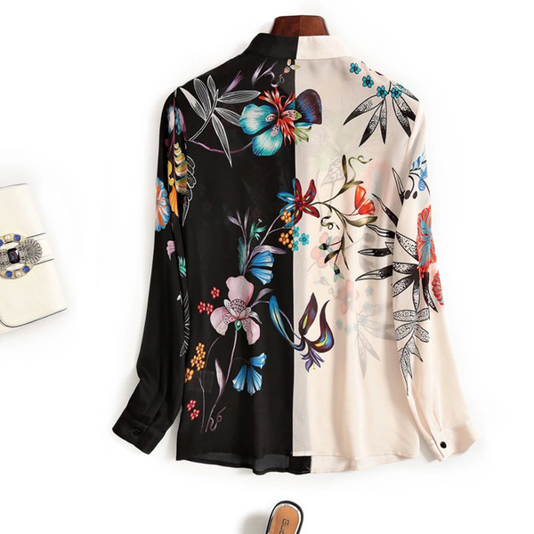 European station 2019 new print contrast color floral shirt blouse women's fashion complex silk silk shirt