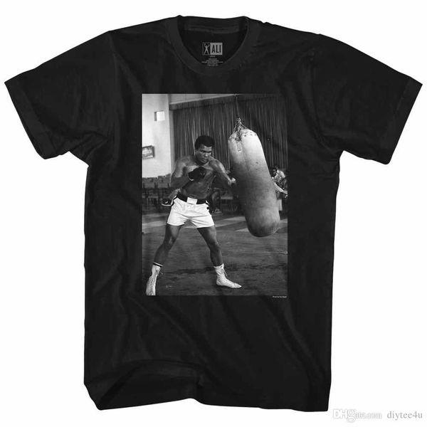 Muhammad Ali Tall T-Shirt Saco de boxeo BW Retrato Camiseta negra Camisetas Hombre de manga corta personalizada personalizada de San Valentín 3XL Grupo Camisetas